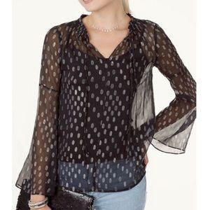 Maette Black Polka Dot Long Sleeve Blouse